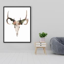 Framed 36 x 48 - Deer skull with roses