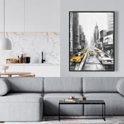 Framed 36 x 48 - Yellow taxis in new york