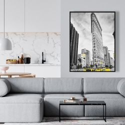 Framed 36 x 48 - Outline of flatiron building to new-york