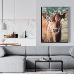 Framed 36 x 48 - Cute jersey cow