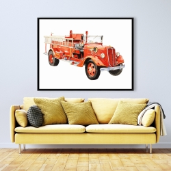 Framed 36 x 48 - Vintage fire truck