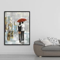 Framed 36 x 48 - Couple walking under their umbrella