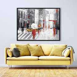 Framed 36 x 48 - Abstract cloudy city street