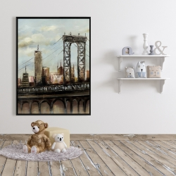 Framed 36 x 48 - City bridge by a cloudy day