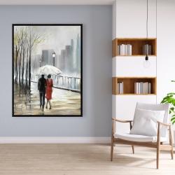 Framed 36 x 48 - Couple walking under the rain