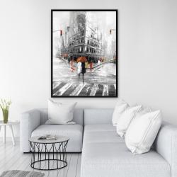 Framed 36 x 48 - Greyish flatiron building