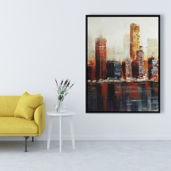 Framed 36 x 48 - Abstract red cityscape