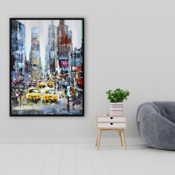 Framed 36 x 48 - Urban scene with yellow taxis