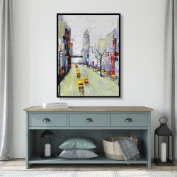 Framed 36 x 48 - Gray street with yellow and red accents