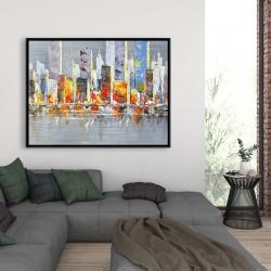 Framed 36 x 48 - Color splash cityscape