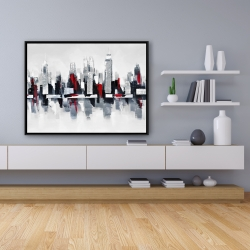 Framed 36 x 48 - Gray and red cityscape