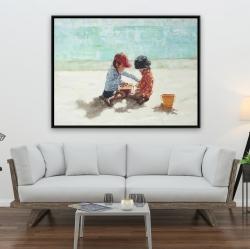 Framed 36 x 48 - Little girls at the beach