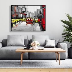 Framed 36 x 48 - Abstract traffic by a rainy day