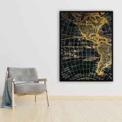 Framed 36 x 48 - Blue and marine world map globe