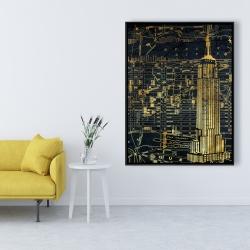 Framed 36 x 48 - Gold city blue print
