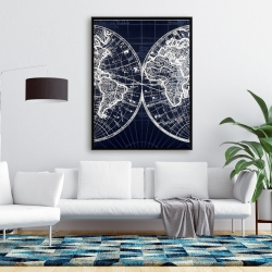 Framed 36 x 48 - World map blue print