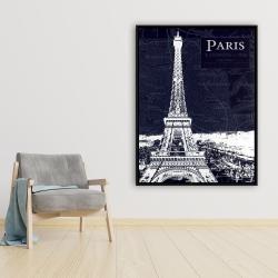 Framed 36 x 48 - Paris blue print and eiffel tower