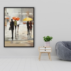 Framed 36 x 48 - Abstract passersby with umbrellas