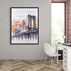 Framed 36 x 48 - Bridge sketch