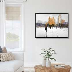 Framed 36 x 48 - Silhouettes walking towards the city