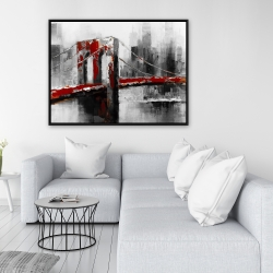 Framed 36 x 48 - Abstract and red brooklyn bridge