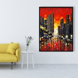 Framed 36 x 48 - Abstract sunset on the city