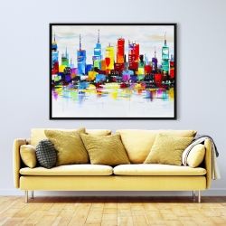Framed 36 x 48 - Abstract and colorful city