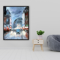 Framed 36 x 48 - Abstract red and blue city