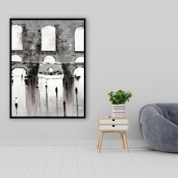 Framed 36 x 48 - Gray building with passersby