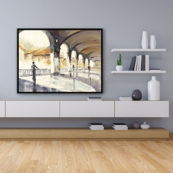 Framed 36 x 48 - People in a spacious hall