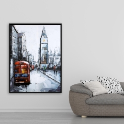 Framed 36 x 48 - Abstract london and red bus