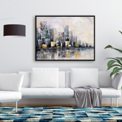 Framed 36 x 48 - Abstract cityscape in the morning