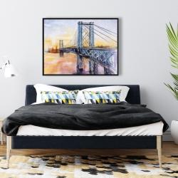 Framed 36 x 48 - Abstract brooklyn bridge