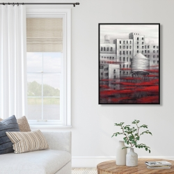 Framed 36 x 48 - Gray city with red clouds