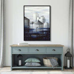 Framed 36 x 48 - Gray city with blue clouds