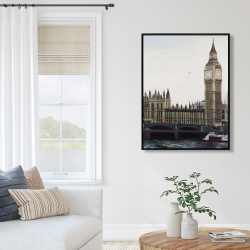 Framed 36 x 48 - Big ben clock elizabeth tower in london