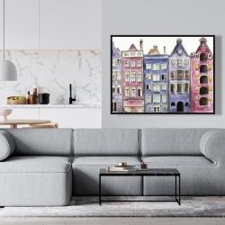Framed 36 x 48 - Old historic houses amsterdam