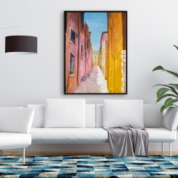 Framed 36 x 48 - Colorful houses in the streets of collioure