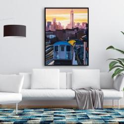 Framed 36 x 48 - Sunset over the subway in new-york