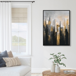 Framed 36 x 48 - Abstract gold skyscraper