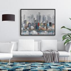 Framed 36 x 48 - Abstract city skyline