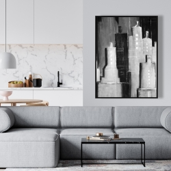 Framed 36 x 48 - Abstract black and white cityscape