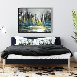Framed 36 x 48 - Abstract blue skyline