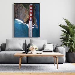 Framed 36 x 48 - Overhead view of the golden gate and mountains