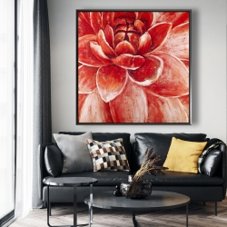 Framed 48 x 48 - Red chrysanthemum