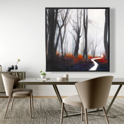 Framed 48 x 48 - Mysterious forest with stream