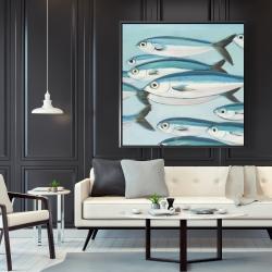 Framed 48 x 48 - Small fish of caesio caerulaurea
