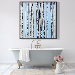 Framed 48 x 48 - Birches on a blue background