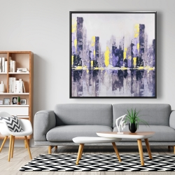 Framed 48 x 48 - Abstract purple city