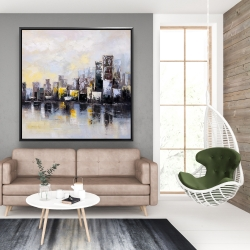 Framed 48 x 48 - Abstract city in the morning